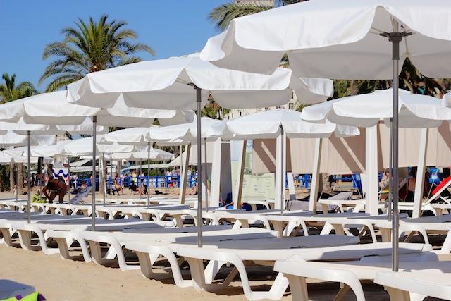 Alicante Playa Postiguet beach umbrellas