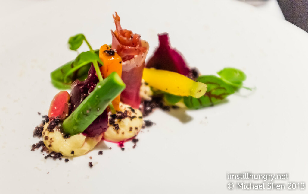 Salad of heirloom beetroot and carrot, asparagus, parmesan custard, serrano jamon, hazelnuts, black truffle vinaigrette Ezard