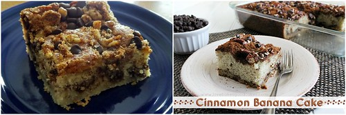 Cinnamon Banana Cake pieces on plates with fork. Cinnamon Banana Cake in casserole dish in background.