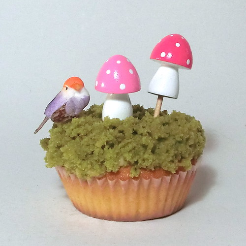 Wooden Mini Cupcake Topper - Pink Ombre Mushrooms / Toadstools - set of 6