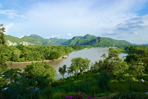 panorama mountains tree water forest river thailand boat asia day view cloudy sony southeast poon alpha dslr wat 77 province kanchanaburi noi pun khao kwai tham kwae thegalaxy earthasia mygearandme