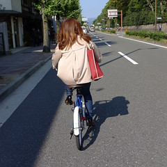 Kyoto Woman on Bicycle