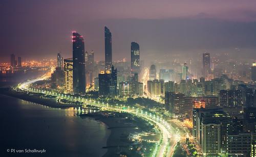 travel urban color colour skyscraper sunrise canon haze cityscape uae middleeast abudhabi arabia canon5d bluehour lighttrail