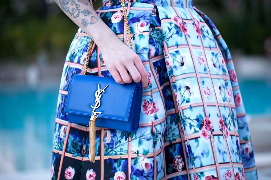 Luisaviaroma luisa via roma mary katrantzou printed dress ethno morphic ysl yves saint laurent blue outfit CATS & DOGS firenze4ever event 4