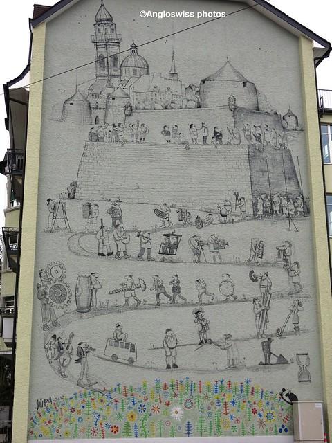 Painting on Building Bahnhofplatz, Solothurn