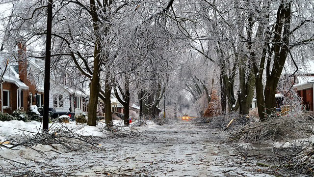 Brampton Ontario - closed to traffic - aftermath of devastating ice storm in Downtown Heritage District