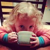 There's something really super about watching your kid drink hot cocoa out of a mug you made and have to her.
