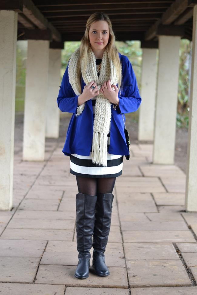 Outfit gestreiftes Kleid und blaue Jacke (2)