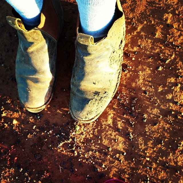 These boots are old and worn but they're also the most comfy walkin' shoes! - especially out here on the farm.....