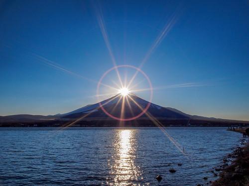 sunset mountain japan landscape 日本 富士山 mtfuji diamondfuji ダイヤモンド富士 山名湖 yamanakolake