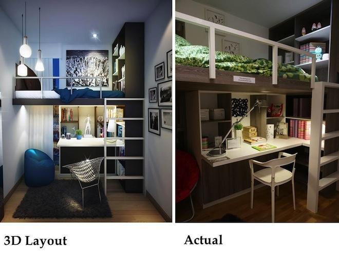 Double deck loft unit showflat for Interior design double deck bed
