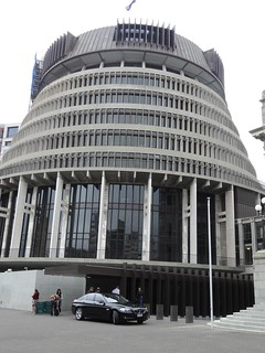 New Zealand Parliament called the Beehive. Designed  in 1964 opened by the Queen in 1977. The Prime Ministers Office and Cabinet meet on the top floor.