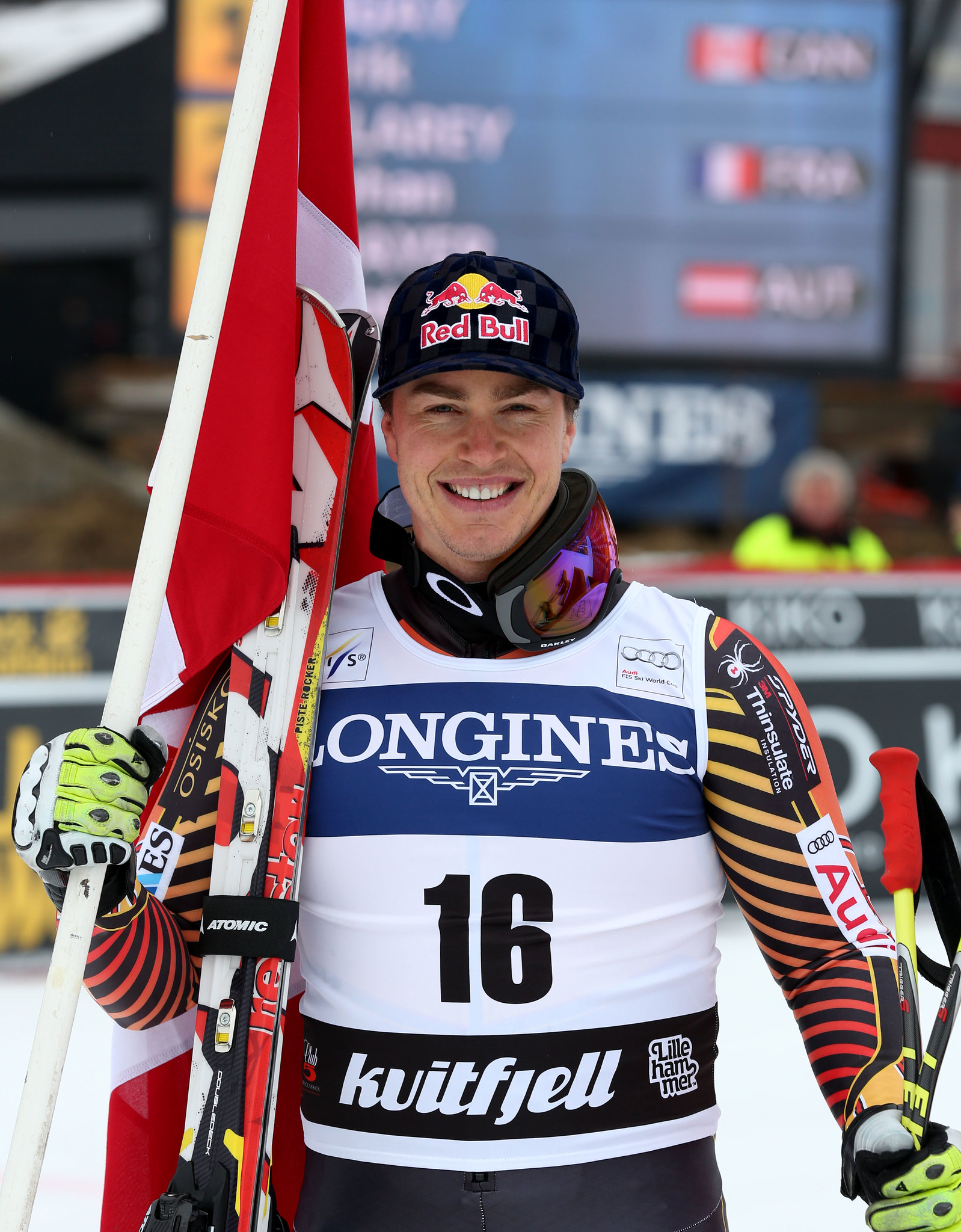 Guay celebrates his downhill victory in Kvitfjell, NOR