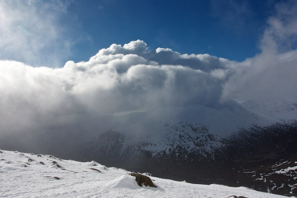 Winter storm over Beinn Bhrotain