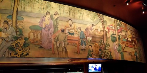 Ancient Chinese restaurant mural, TV, bamboo, hotpot, tea, reading, culture, enjoyment, relaxation, discussion, P.F. Changs, Bellevue, Washington, USA by Wonderlane