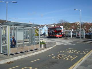 Red double-decker bus in Aberystwyth