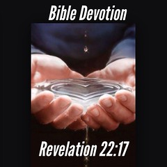 "Bible Devotion: Revelation 22:17NIV ""The Spirit and the bride say, ""Come!"" And let the one who hears say, ""Come!"" Let the one who is thirsty come; and let the one who wishes take the free gift of the water of life."" See it at Bible.com: http://bible.com"