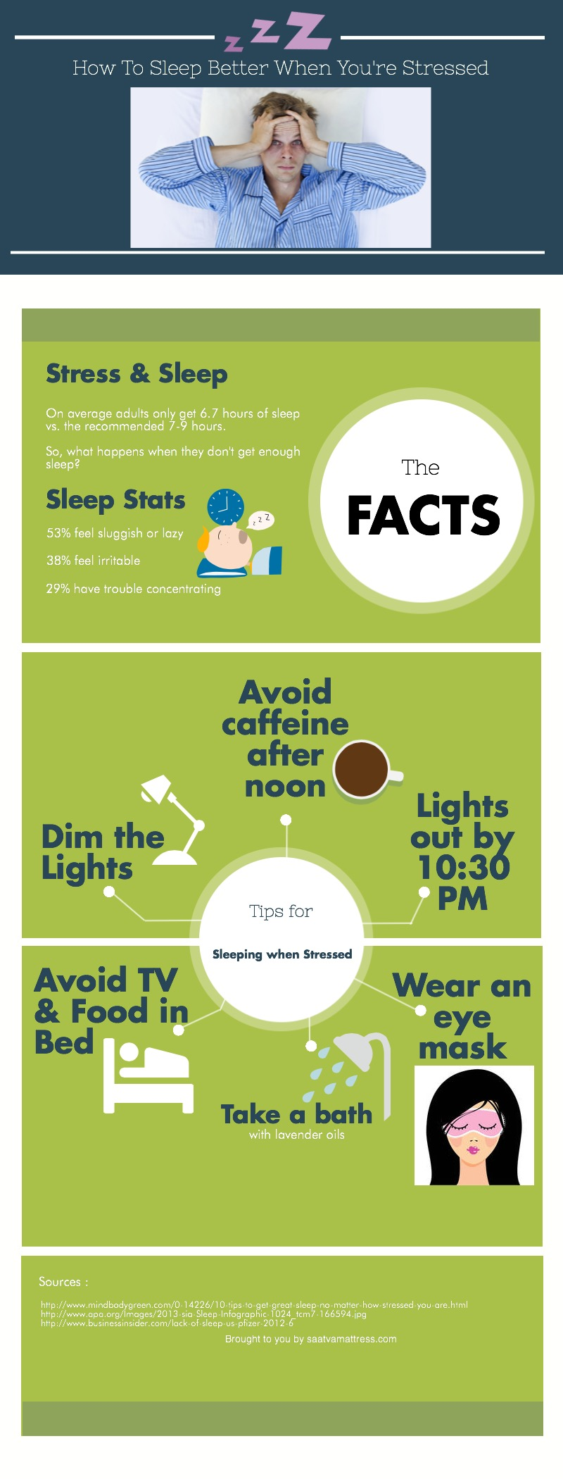 stress and sleep, sleep infographic, get better sleep when stressed