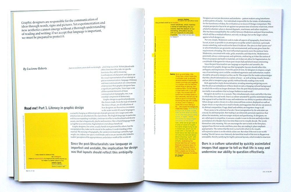 eye magazine feature read me literacy in graphic design