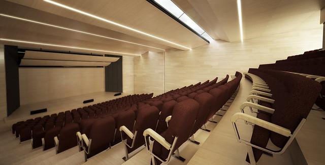 Interior Auditorio - Concurso publico de anteproyecto para el diseño de un auditorio.