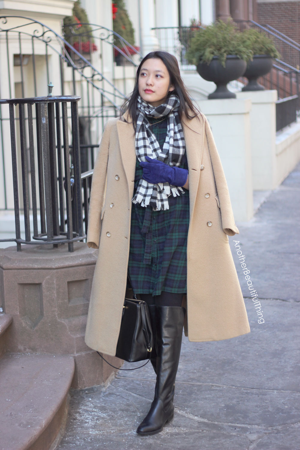 What to wear with camel coat and thigh high black boots