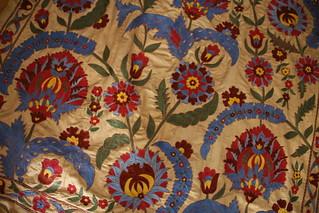 Elaborate Silk weaving in pre Soviet patterns.