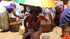 Lady With Parasol at Outdoor Market, Lilongwe, Malawi