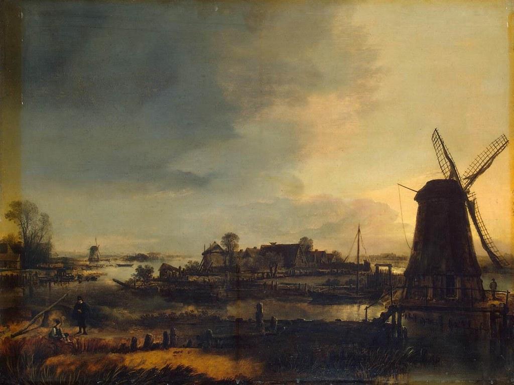 Paisaje con molino. Aert van der Neer. Óleo sobre tabla, 1646