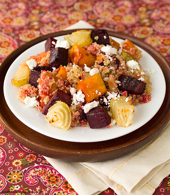 Quinoa with goat's cheese and roasted veg