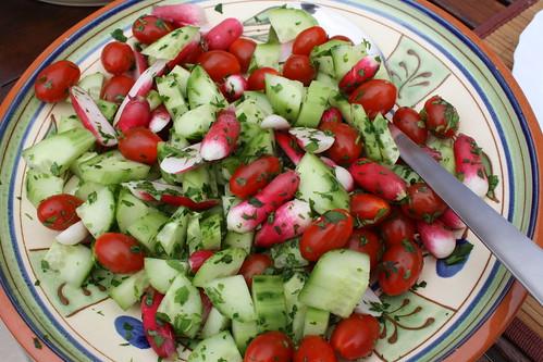 Cucumber, radish & mint salad
