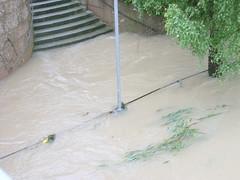 Trostberg-Hochwasser Alz-Juni 2013- Radweg bei Alzbrücke in der Stadt