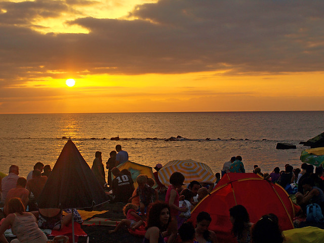 Sunset, Noche de San Juan, Midsummer, Puerto de la Cruz, Tenerife
