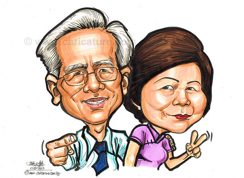 couple caricatures in colour marker 07072013 - 2