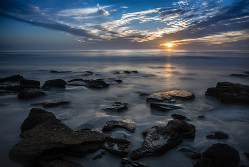 ocean longexposure blue sky orange usa cloud color beach water weather night sunrise landscape dawn lowlight florida cloudy wave explore shore features marineland centralflorida