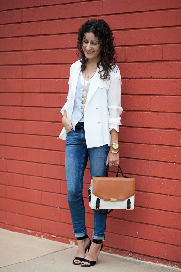 Zara silk tuxedo style blouse, summer silk trench coat, fashion blogger