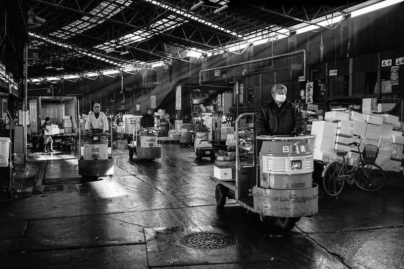 Inside Tsukiji Market, Tokyo.