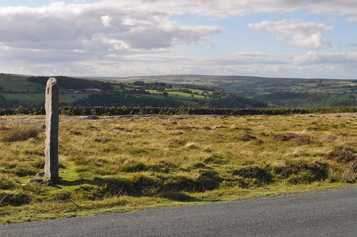 Roadside stone and sunlit fields, North York Moors