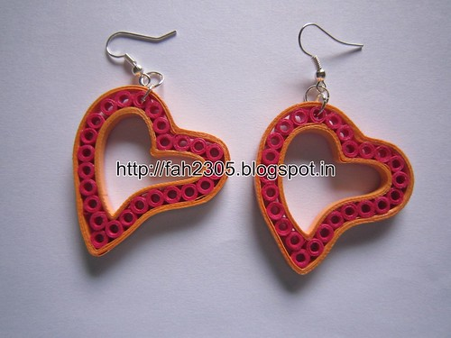 Handmade Jewelry - Paper Quilling Heart Earrings (2) by fah2305