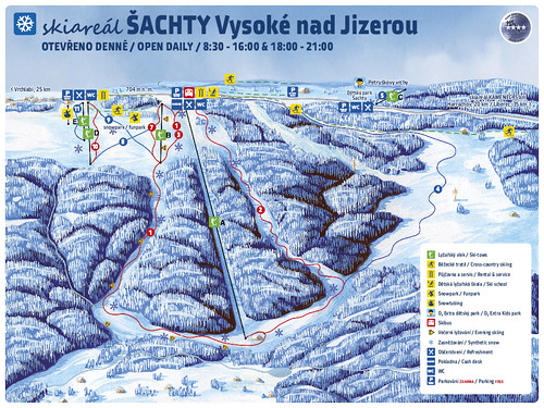 Vysoké nad Jizerou - Šachty - mapa sjezdovek