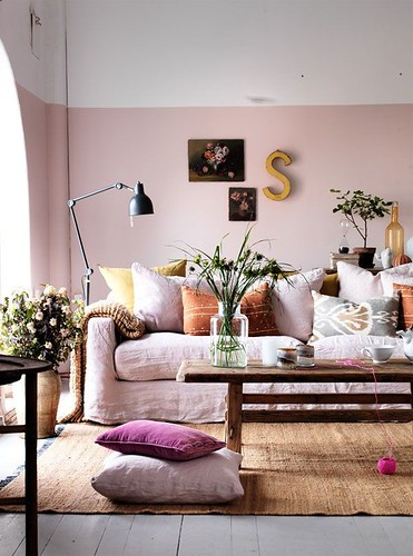half painted pink wall by Clive Tompsett