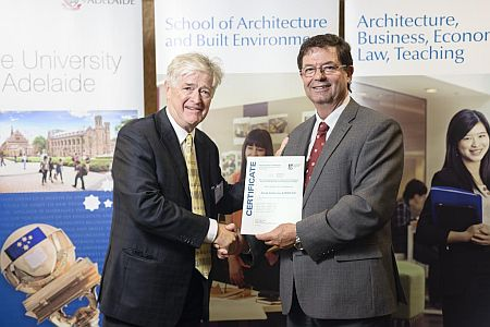 2012 Winner: Sarah Kirkham (accepted by Prof George Zillante, Head of School) - Presented by Steve Grieve (State Chapter President-AIA)