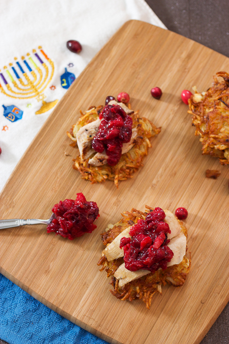 Potato Latkes Topped with Turkey and Cranberry Chutney #thanksgivukkahpotluck