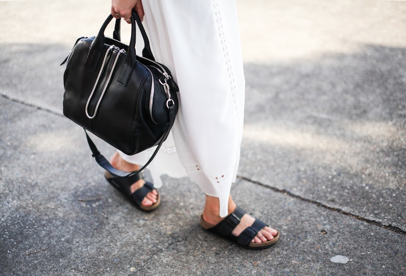 modern legacy fashion blog style blogger white maxi dress summer street style birkenstock sandals wide fedora hat alexander wang bag celine sunglasses monochrome (2 of 8)