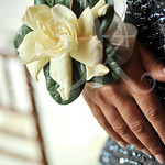 Classic Gardenia bloom corsage with crystal band