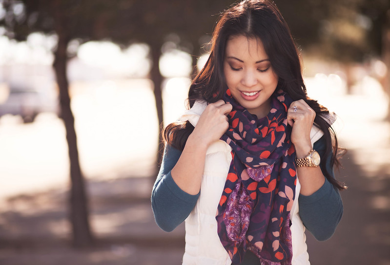 cute & little blog | navy scarf, white quilted puffer vest, teal sweater, henry & belle super skinny ankle jeans outfit