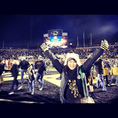 "Yes, I was one of many that stormed the field after we won ;) Only because my husband said ""This is a once in a lifetime opportunity..."". How could I argue with that? #Mizzou"
