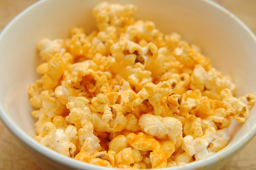 recipe: bacon popcorn with pasture butter and cheddar cheese.