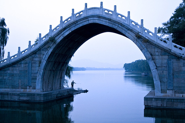 Fishing at Jade Belt Bridge, Summer Palace, Beijing