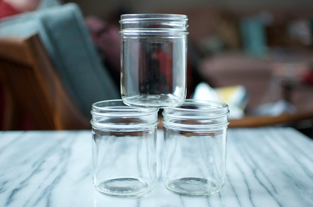 stacked half pint jars
