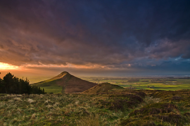 Roseberry Topping stormy sunset.